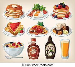cartone animato, colazione, set, classico