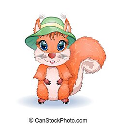 cartone animato, concetto, vacanza, cappello, estate, scoiattolo, carino, mare, begli occhi, viene