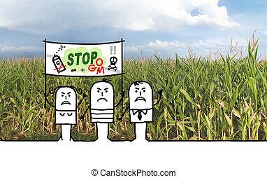 cartone animato, contro, gmo, agricoltura, protestare, chimico, persone