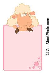 cartone animato, cornice, sheep
