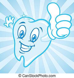 cartone animato, denti, su, pollici