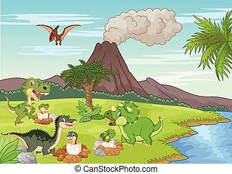 cartone animato, dinosauro, suolo, annidamento