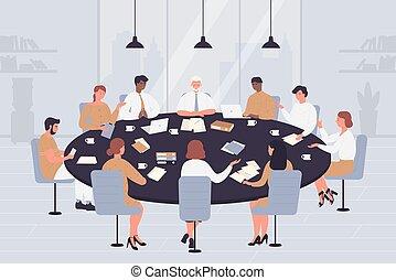 cartone animato, direttori, tavola, politici, trattativa, persone