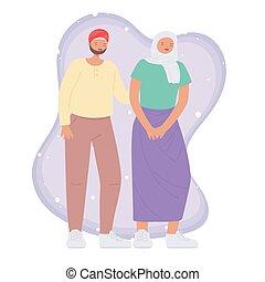 cartone animato, disegno, persone, giovane coppia, carattere, multicultural, musulmano, multirazziale, diverso
