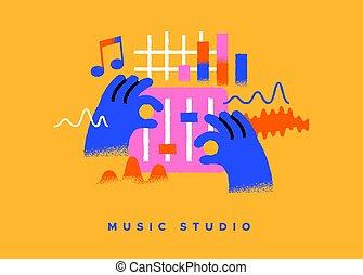 cartone animato, dj, musica, concetto, studio, isolato, icona