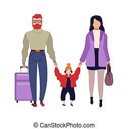 cartone animato, famiglia, appartamento, passeggeri, isolato, illustrazione, vettore, aeroporto., aereo, bambino, valigia, caratteri, andare, donna, terminal., boarding., uomo