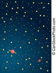 cartone animato, fondo, spazio, esterno
