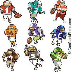 cartone animato, football, icona, giocatore