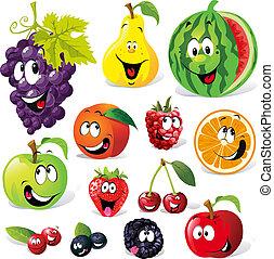 cartone animato, frutta, divertente