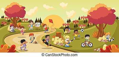 cartone animato, gioco, bambini