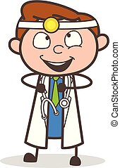 cartone animato, gioioso, espressione, eccitato, dottore