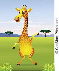 cartone animato, giraffa, divertente, standing