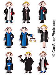 cartone animato, giudice, set, icona