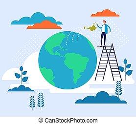 cartone animato, grafico, appartamento, concept., illustrazione, terra, disegno, risparmi, pianeta, vettore