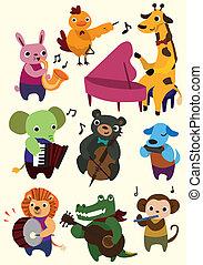cartone animato, icona, animale, musica