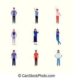 cartone animato, icona, giovani persone, set