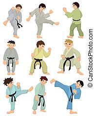 cartone animato, icona, karate, giocatore