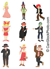 cartone animato, icona, maschera, festa