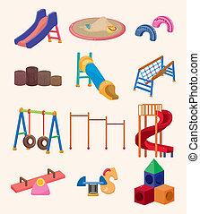 cartone animato, icona, parco, campo di gioco