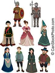 cartone animato, icona, persone, medievale