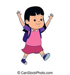 cartone animato, icona, piccola ragazza, eccitato
