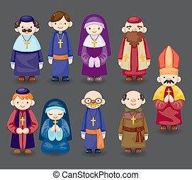 cartone animato, icona, prete