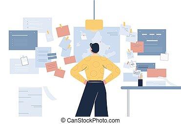 cartone animato, illustrazione, appartamento, maschio, dall'aspetto, vettore, molti, piano, parete, indietro, lavoro, note, vista