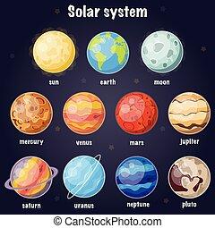 cartone animato, illustrazione, sistema, poster., solare