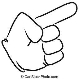cartone animato, indicare mano