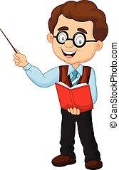 cartone animato, insegnante, maschio