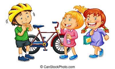 cartone animato, isolato, bambini, carattere