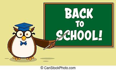 cartone animato, laureato, asse, gufo, scuola, carattere, fronte, berretto, insegnante, gesso