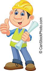 cartone animato, lavoratore, repairm, costruzione