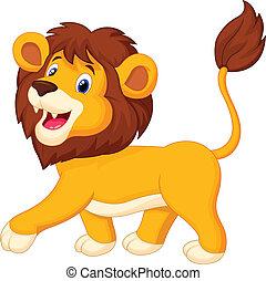 cartone animato, leone, camminare