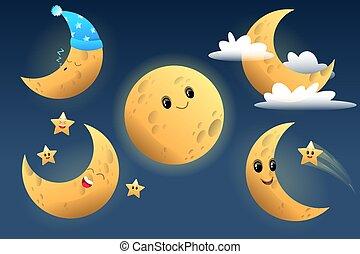 cartone animato, luna, carino, carattere
