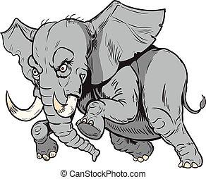 cartone animato, mascotte, elefante, africano, vettore, addebitare
