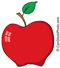 cartone animato, mela rossa