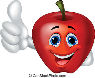 cartone animato, mela, su, pollice