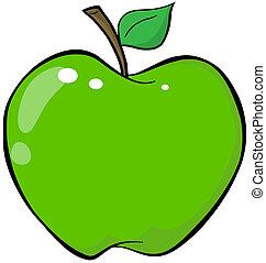 cartone animato, mela verde