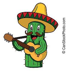 cartone animato, messico, vettore, cactus