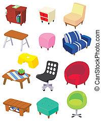 cartone animato, mobilia, icona