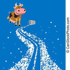cartone animato, modo, latteo