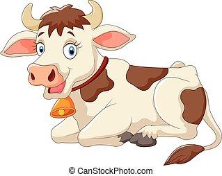 cartone animato, mucca, felice