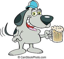 cartone animato, mug., berretto, cane, baseball, birra, presa a terra, il portare