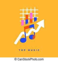 cartone animato, musica, cima, concetto, grafico, isolato, icona