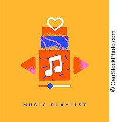cartone animato, musica, icona, concetto, canzone, isolato, playlist