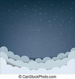 cartone animato, nube cielo, stelle