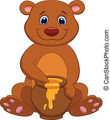 cartone animato, orso miele, carino