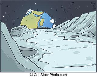 cartone animato, paesaggio lunare