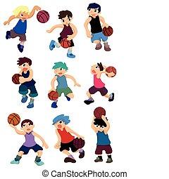 cartone animato, pallacanestro, icona, giocatore